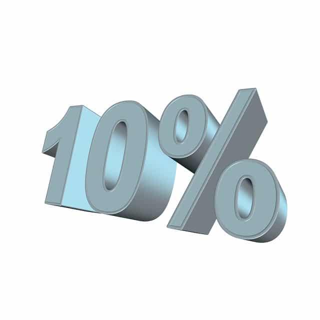 Kymmenen prosenttia kuvaamassa kymmenen prosentin korkokatto muutosta